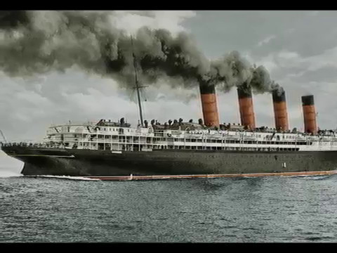 RMS Lusitania in colored Pictures and short movieparts