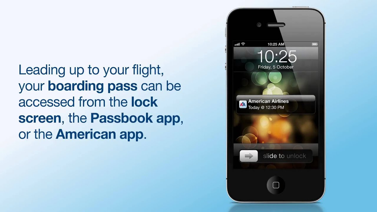 How to add your Mobile Boarding Pass to Passbook - American Airlines iPhone  App iOS6