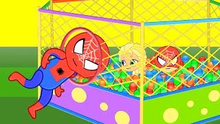 Spiderman Baby Elsa & baby Spiderman in Ball playground stop motion video for kids