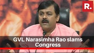 Bjp Leader Gvl Narasimha Rao Slams Congress For And39bharat Bachaoand39 Rally