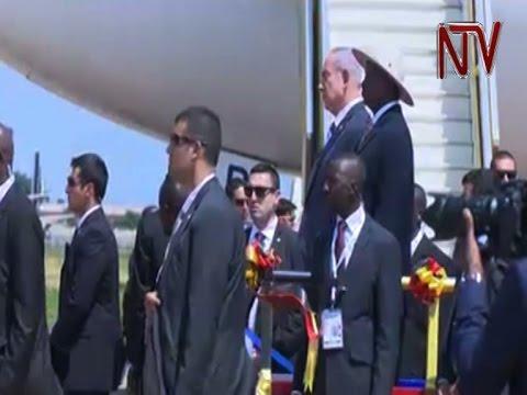 Israeli Prime Minister Benjamin Netanyahu arrives in Uganda