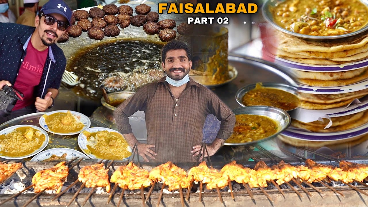 PAKISTANI STREET FOOD TOUR IN FAISALABAD - Kebab Stall Ghanta Ghar, Munna Daal Chawal & Fry Naan.