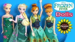 Queen Elsa FROZEN FEVER Princess Anna Disney Store Birthday Party Film Movie 2 Dolls Unboxing Review