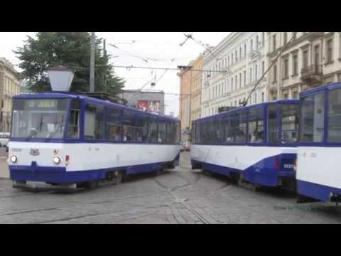 Trams in Riga, Latvia in HD 1080p