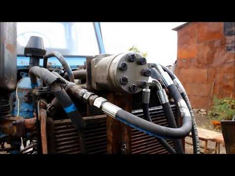 Установка насоса дозатора на трактор МТЗ-80 вместо ГУРа