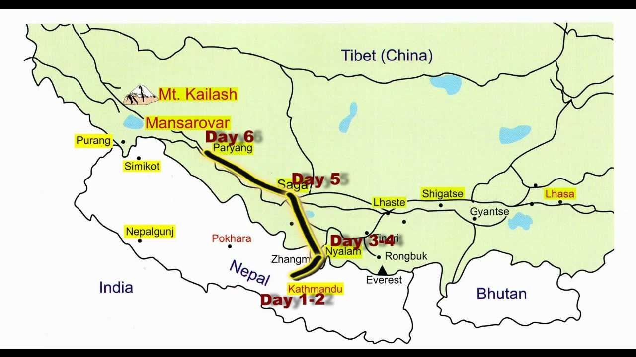 Kailash Mansarovar Map Kailash Mansarovar Nepal Route   YouTube