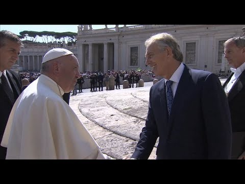 Tony Blair greets Pope Francis after the general audience