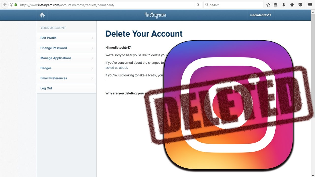 How to delete instagram account permanently on pc 2017 youtube how to delete instagram account permanently on pc 2017 ccuart Images
