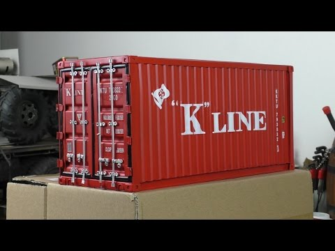 Metal scale model shipping container.