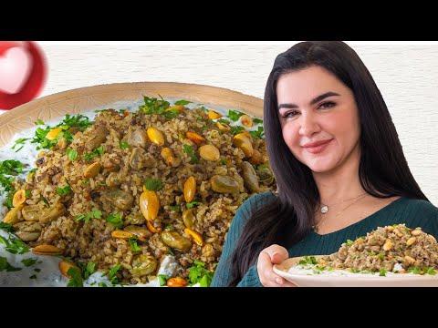 ارز باللحمة والفول الاخضر وجبة سريعة و خفيفة بطريقة الشيف لينا مسعد