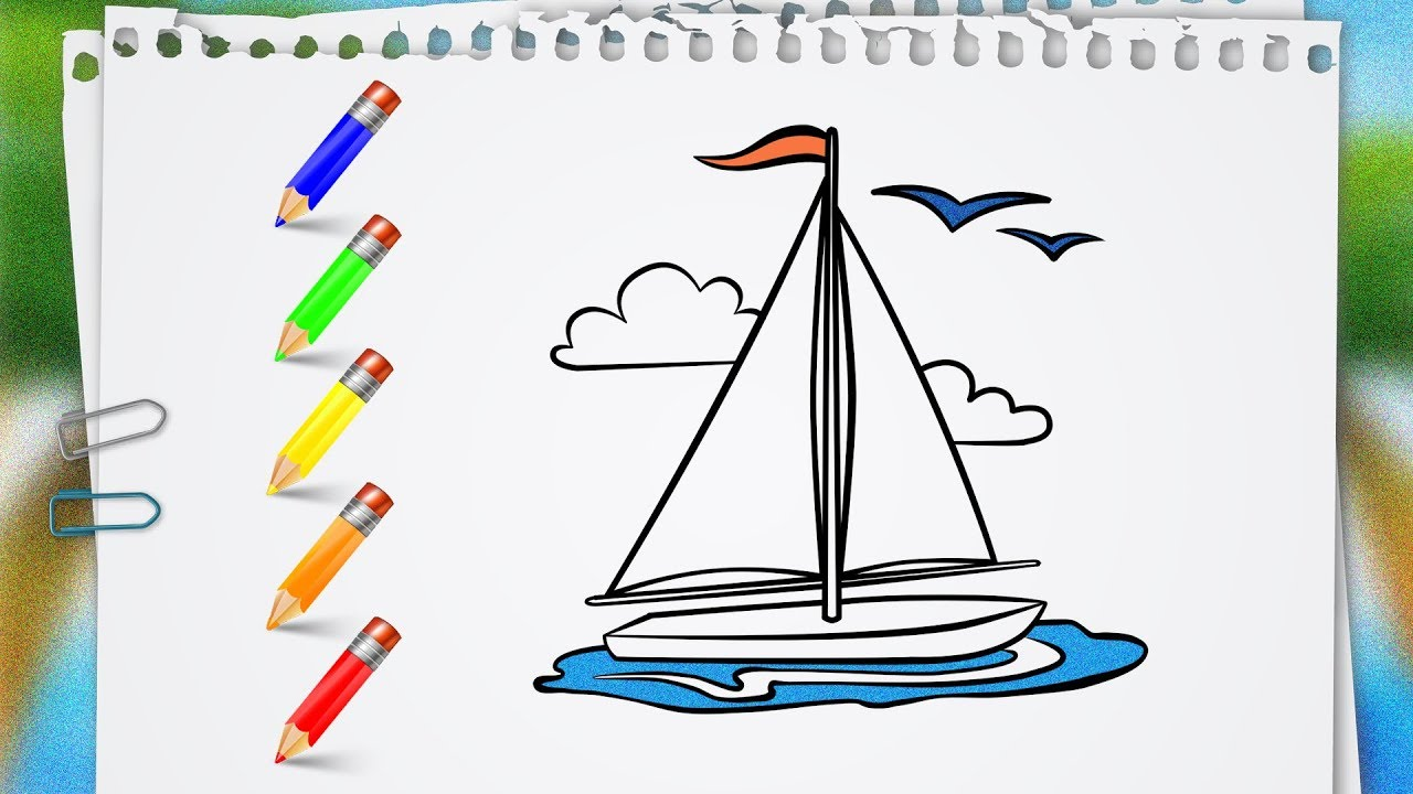 Coloring Pages Sailing Vessel Yacht Learn How To Draw and Paint ...