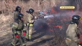 Днепровскую окутал черный дым из-за пожара