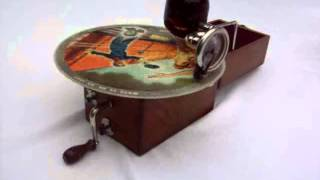 1924 British Cameraphone Collapsible Miniature Gramophone playing a Vogue Picture Record