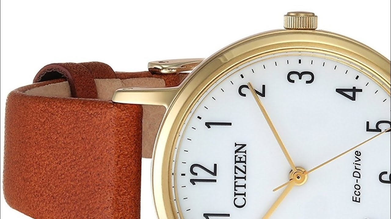 d3edcbfe6cc39b Citizen Women's Eco Drive EM0572-05A Quartz Stainless Steel and Brown Leather  Casual Watch