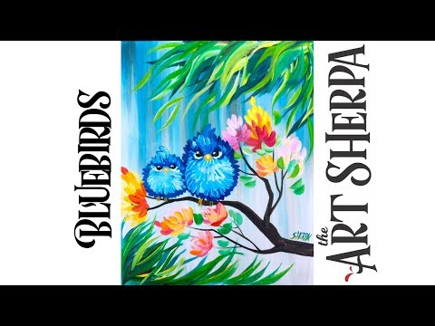 Easy Acrylic Painting Happy Blue Bird Mama And Baby With Flowers #playlive #derpsquad
