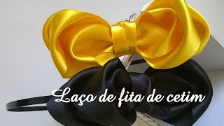 Tiara com laço de fita de cetim diy \ Tiara with lace satin ribbon diy