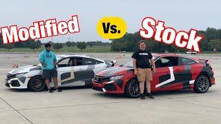 Modified Honda civic Si Vs. Stock Honda civic Si (Test Footage)