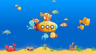 Łódź podwodna, ocean, morze, rybki animacja wideo dla dzieci
