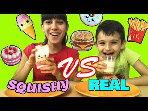 SQUISHY FOOD VS REAL FOOD!!! By Tina & Pippo Review