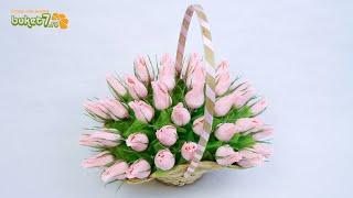 Букет из конфет в корзине с бутонами роз своими руками ☆ Handmade ☆ Букет роз