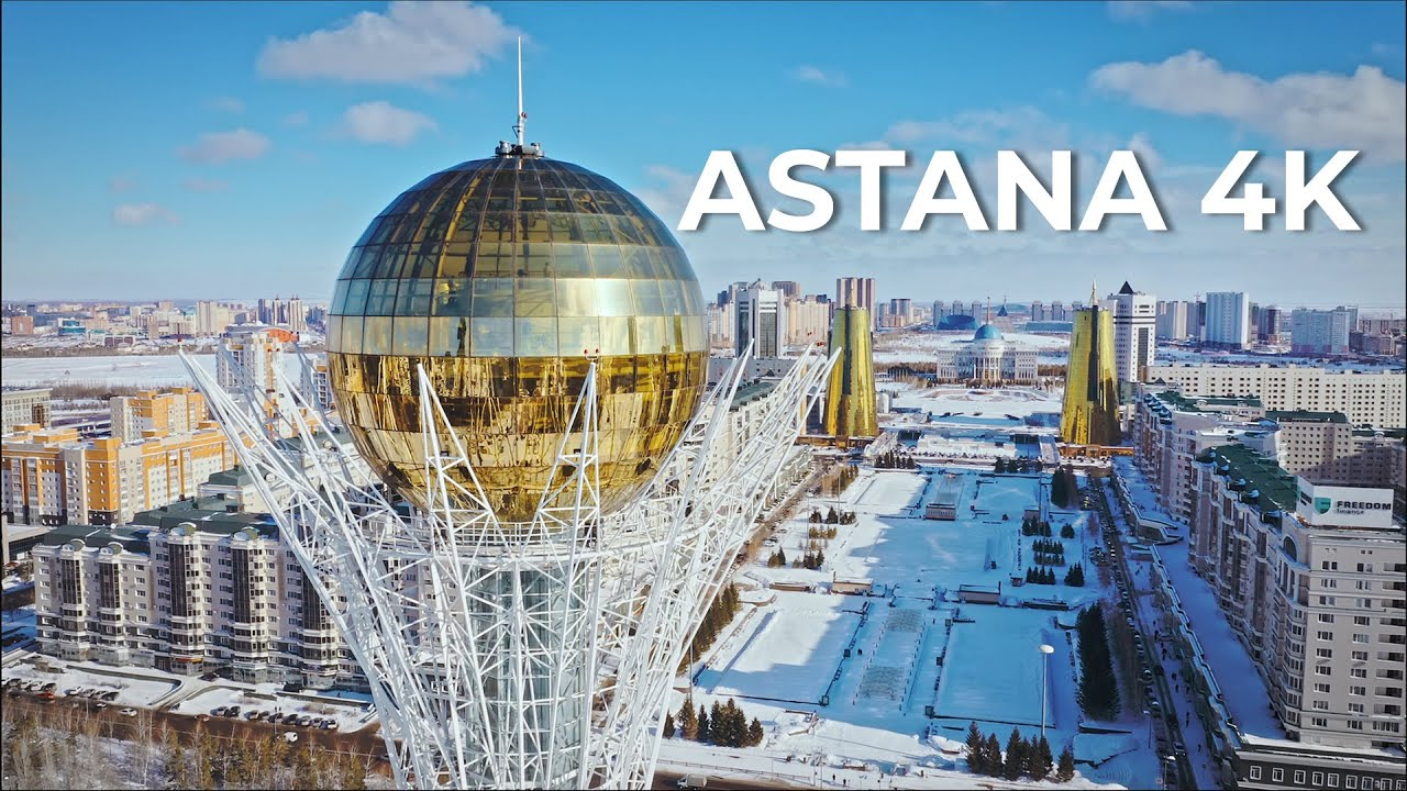 Зимняя Астана (Нур-Султан) 4K Футажи с дрона