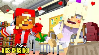 BABY KAYLA PLAYS KISS CHASING with HER CRUSH... Minecraft