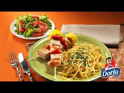 Spaghetti Doria sabor Pollo Asado con pinchos