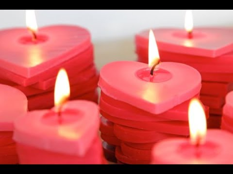 DIY Stacked Ombre Heart Candles
