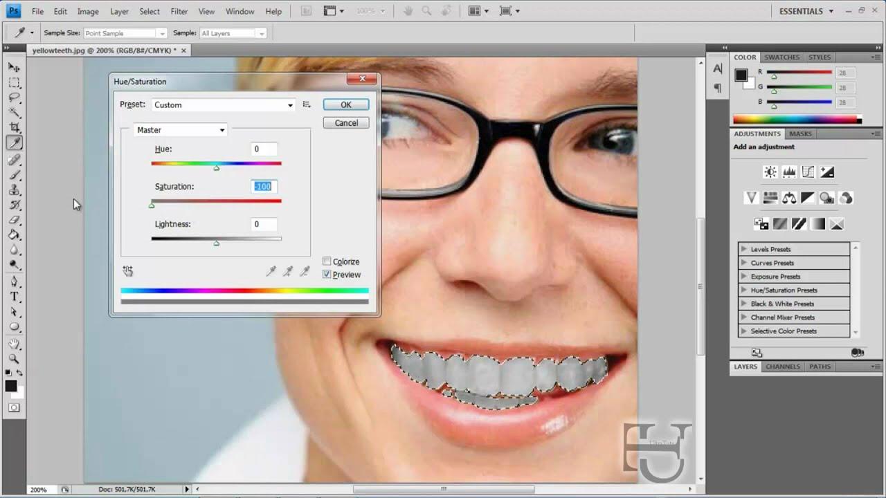tutoriel photoshop comment rendre les dents blanches youtube. Black Bedroom Furniture Sets. Home Design Ideas