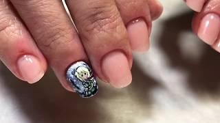 Маленький принц рисунок на коротких ногтях гель-лаком и акриловыми красками