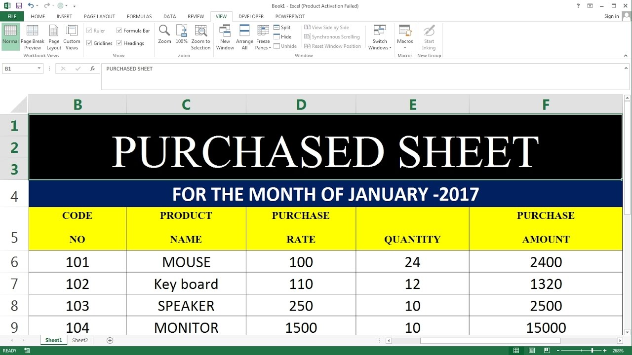 how to create purchased sheet in ms excel youtube