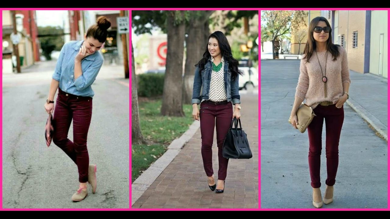 OUTFITS CON PANTALON COLOR VINO - YouTube