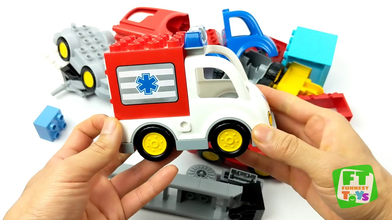 Build Lego Duplo Learn Colors With Police Fire Ambulance Cars And