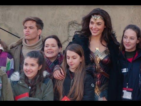 Wonder Woman Set Visit Gal Gadot and Chris Pine Meet Aspiring Young Women Filmmakers