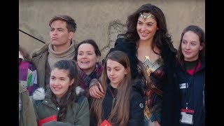 Wonder Woman Set Visit Gal Gadot and Chris Pine Meet Aspiring Young Women Filmmakers