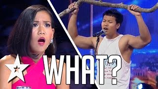 Guy With Stick Makes Judge Fall Off Her Chair | Got Talent Global