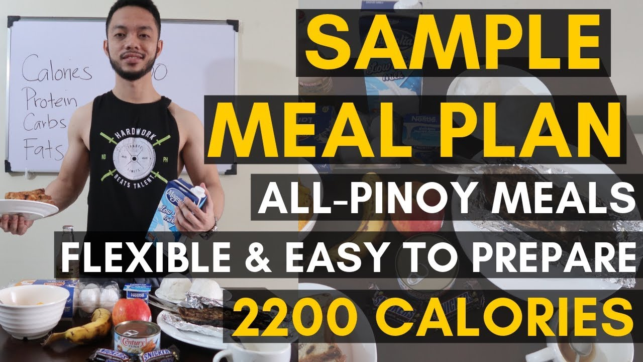 Vid. 20: SAMPLE PINOY MEAL PLAN | 2200 Calories | Pinoy Diet | Flexible Diet