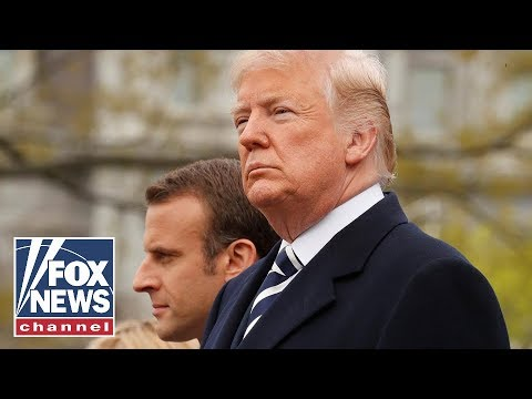 Trump welcomes Macron in White House arrival ceremony
