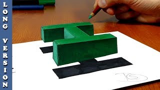 Try to do 3D Trick Art on Paper, floating letter H, Long Version