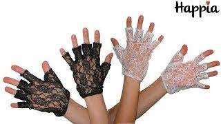 Черные и белые кружевные перчатки без пальцев / Обзор