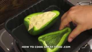 Chicken & Cream Stuffed Peppers Recipe - Italian Style cooking Basil