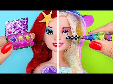 12 DIY Mini Einhorn Make-Up vs Meerjungfrau Make-Up! / Verrückte Tricks Für Deine Barbie