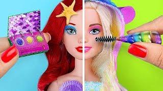 12 DIY Mini Einhorn Make-Up vs Meerjungfrau Make-Up! / Verrückte Tricks Für Deine Barbie