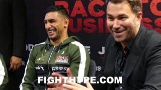 AMIR KHAN PUTS EDDIE HEARN IN AN AWKWARD MOMENT AS HE DISSES