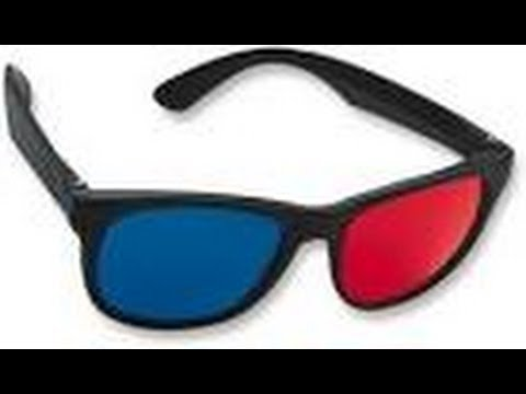 3D Glasses Red and Cyan Anaglyph OVERSIZE Classic Plastic Style YOUTUBE 1 Pair