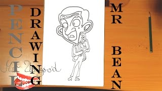 DIY How to draw easy stuff but cool: draw MR BEAN Animated Cartoon EASY, with Pencil, SPEED ART