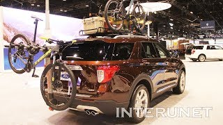 2020 ford explorer platinum with rack roof mounted cargo basket and bike rack hitch