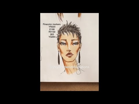 Fashion sketch tutorial-fashion face/short hair/marker thumbnail