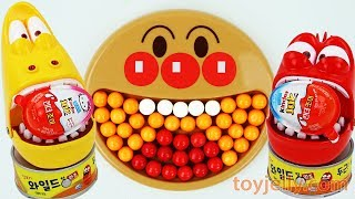 Learn Colors Anpanman Bubble Gumball Plate for Baby Larva Surprise Egg Kinder Joy Toys Kids Songs