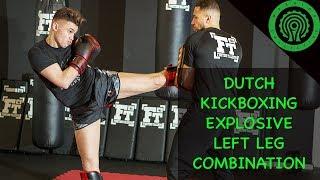 Dutch Kickboxing - Explosive Lead Leg Pad Work Combination with Hicham El Gaoui & Mohammed Jaraya